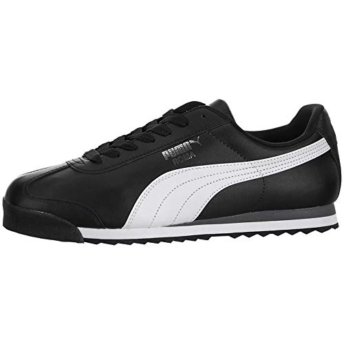 PUMA Men's Roma Basic Fashion Sneaker, Black/White/Silver - 9.5 D(M) US