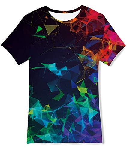 AIDEAONE Kinder Jungen T-Shirts Sommer Tops Bunt 3D T-Shirt, 14-16 Jahre (L)