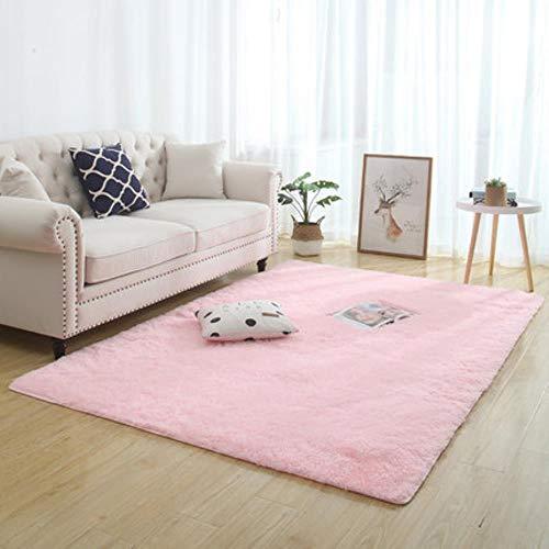 Alfombra de pelo largo nórdico rosa para sala de estar, alfombra de noche para sala de estar, mesa de café, alfombra para habitación de niña, alfombra antideslizante