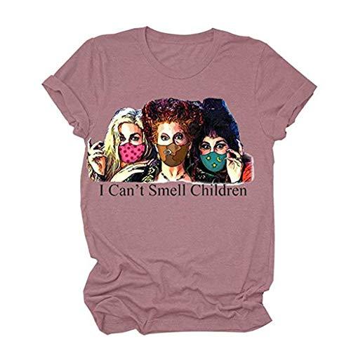 Women Blouse Short Sleeve T-Shirt Casual Halloween Printed Lightweight Tee(Pink,S)