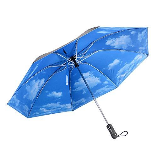 MedusaABCZeus Paraguas De Viaje AutomáTico ErgonóMico,Paraguas inverso Plegable Completamente automático de 8 Huesos, Protector Solar de Vinilo, Cielo Azul y Nubes Blancas_8 Hueso