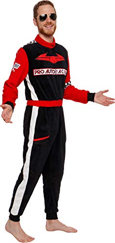 Silver Lilly Uniform Pajamas - Adult One Piece Cosplay Race Car Driver Costume (Red, Large)