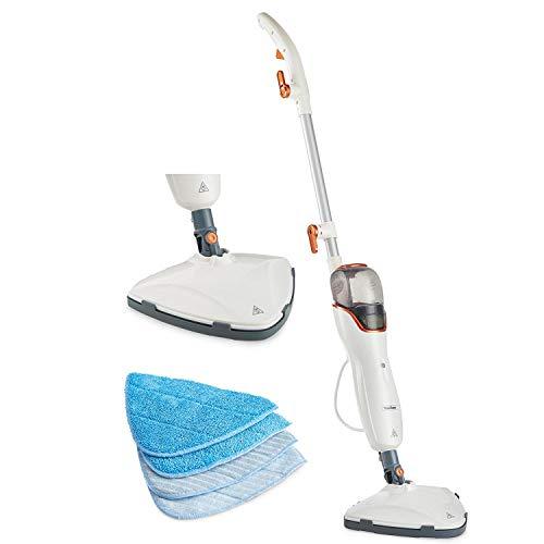 VonHaus Limpiadora Mopa Escoba de Limpieza a Vapor 1200 W - Limpia suelos y alfombras, tanque de 550mL, mopas incluidas