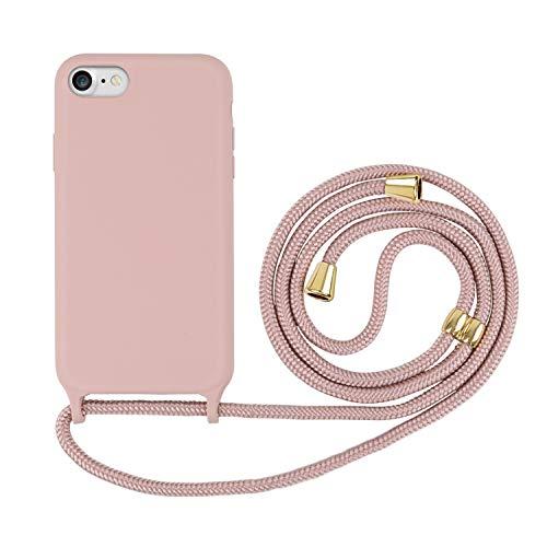 Ciujoy - Funda para iPhone SE 2020, iPhone 7/8, con cordón para colgar, de silicona, con cordón para colgar, color rosa