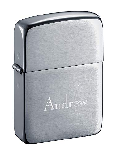 Personalized Zippo Brushed Chrome Lighter with Free Engraving