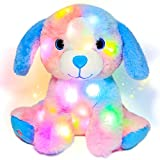 Hopearl Colorful LED Plush Puppy Light up Dog Stuffed Animal Floppy Pup Night Lights Glow in The Dark Birthday Gifts for Kids Toddler Girls, Rainbow, 10.5''