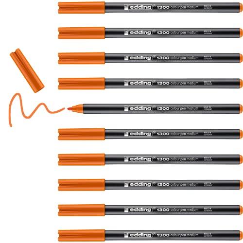 edding 1300-006 - Rotulador con punta de fibra, 10 unidades, color naranja