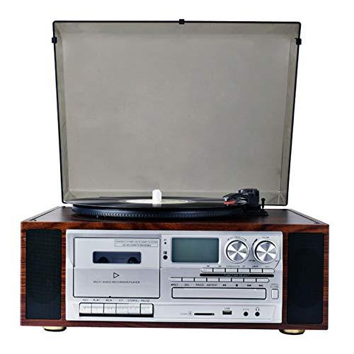 QIAO Tocadiscos de Vinilo Tocadiscos Reproductores de Discos Retro Vintage Altavoces estéreo incorporados, con Conector para Auriculares/Entrada Auxiliar