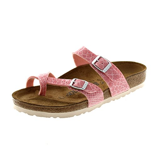 BIRKENSTOCK Damen Madrid Birko-Flor Pantoletten, Rosé, Magic Snake Rose, 39 EU