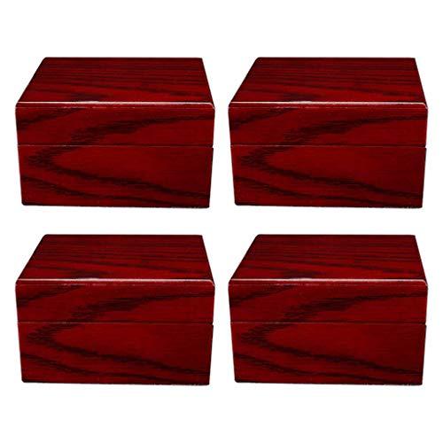 Harilla 4X Edelholz Uhrenbox Elegante Armreif Armbanduhr Behälter Wein Weinrot