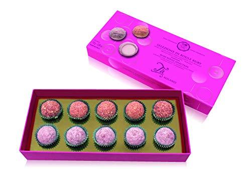 Ta Milano 10 Bombones de Chocolate Rosa Ruby, con praliné de Fruta de la pasión y Fresa - 110 gr