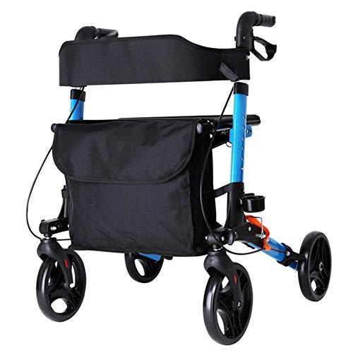 Z-SEAT Adult Folding Rollator Walkers Rad abschließbare Doppelbremsen, vordere Transporttasche, Korb und Tablett, Gehhilfe