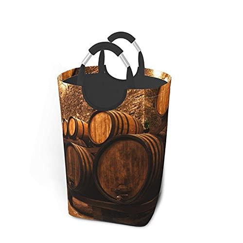 XCNGG Contenedor de roble de vino impreso impermeable plegable cesta de almacenamiento para la colada con asas de aluminio para ropa sucia, cesta de lavandería, cesta de juguetes, dormitorio, baño