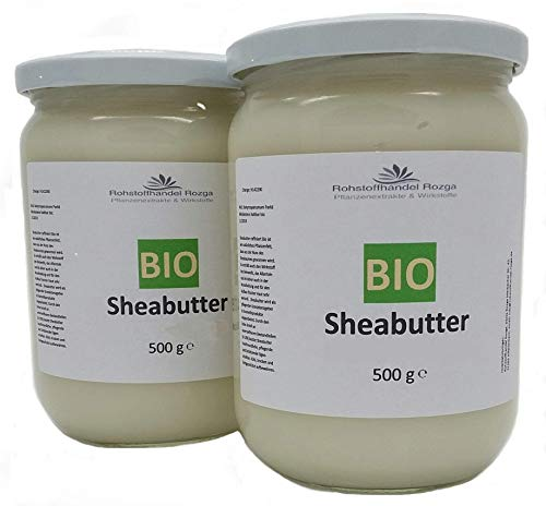 Sheabutter BIO 1 kg (2x 500 g Glas!) Shea Butter 100% rein Top Qualität Karitebutter parfümfrei & vegan
