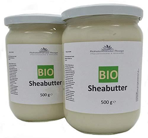 Sheabutter BIO 1 kg (2x 500 g Glas!) Shea Butter 100{6b92ea0aa39d09d08448b615455cc2daf72094fd7b2310da9a923fde2e367bdb} rein Top Qualität Karitebutter parfümfrei & vegan