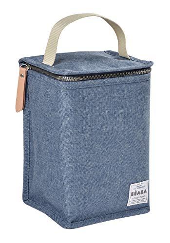 BÉABA - Isoliertasche für Babymahlzeiten - Geräumig - Aufbewahrung von Baby-Flaschen - Tasche für komplette Mahlzeiten - Zusammenlegbar - Weiches und wasserdichtes Material - Blau