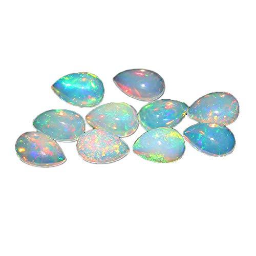 Naturelle blanche Opale éthiopienne 8X5mm forme Poire cabochon coupé pierres précieuses en vrac pour la fabrication de bijoux Qualité AAA calibrée taille 8X5MM Welo Feu Opale éthiopienne 20 pièce