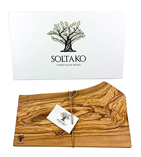 SOLTAKO Tabla de madera de olivo, madera de olivo, tabla de cortar, tabla de servir, tabla de desayuno, bistec, tabla de queso con borde largo, 35-38 cm de largo, 17-23 cm de ancho, 2 cm de grosor