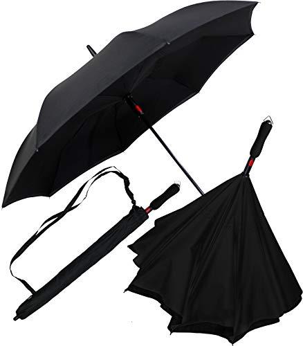 iX-brella Reverse-Regenschirm Automatik- umgedreht zu öffnen - schwarz-schwarz