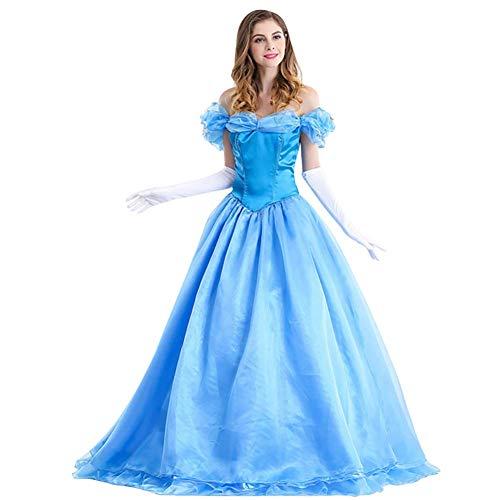 IMEKIS Damen Aschenputtel Kleid Erwachsene Prinzessin Cinderella Verkleiden Schulterfrei Festlich Partykleid Schmetterling Märchen Ballkleid mit Handschuhe Karneval Cosplay Kostüm Blau M