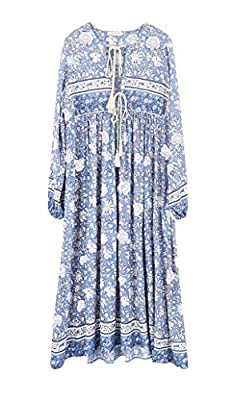 R.Vivimos Women's Long Sleeve Floral Print Retro V Neck Tassel Bohemian Long Midi Dresses