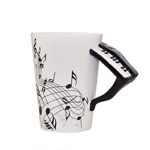 ufengke Creativo Piano Negro Tazas Mug De Porcelana Tazas De Café Personalizadas, Notas Musicales Taza De Té De Cerámica, para Regalo, La Familia Y La Oficina