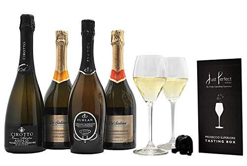 Photo of Premium Prosecco Superiore DOCG Mixed Case (4 bottles x 75 cl), Riedel Prosecco Glasses x 2 and a Prosecco Stopper (Prosecco Superiore Tasting Event in a Box)