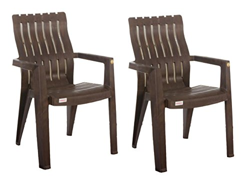 Varmora Plastic Lumber Back Support Chair (Wood Colour)- Set of 2