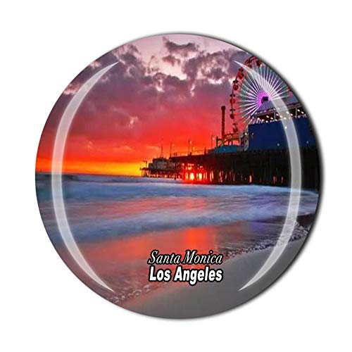 Aimant de réfrigérateur Santa Monica Los Angeles California USA souvenir cadeau de réfrigérateur Décor magnétique Collection d'autocollants