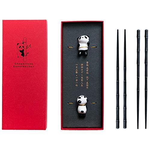 HauSun Panda Keramik Stäbchenhalter Bambus-Form Alloy Essstäbchen Geschenkset, wiederverwendbar, chinesischer Stil, schwarz und elegant Klassische Art in Edler Schatulle Geschenkbox(2 Paar)