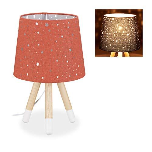 Relaxdays Lámpara de mesa para habitación infantil, lámpara de noche de estrellas, niños y niñas, E14, pantalla redonda de tela, 40 cm de alto, color rojo