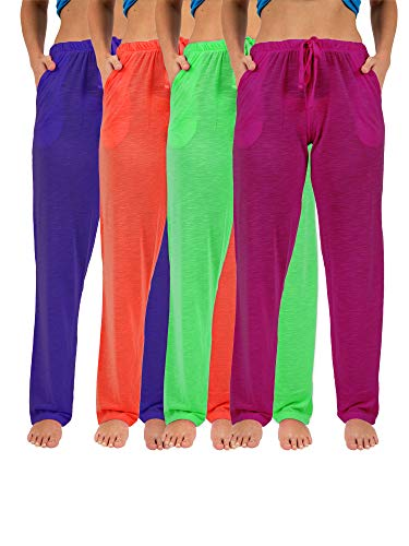Sexy Basics Women's 4 Pack Casual Active Relaxed Flowy Fit Lounge & Yoga Pants (4 Pack-Neon- Green/Purple/Red/PinkFuschia, X-Large)