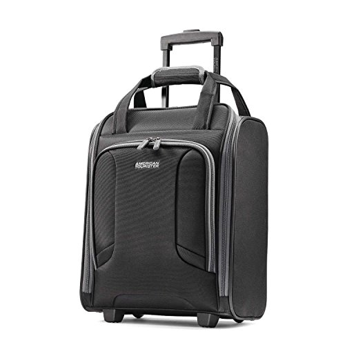 American Tourister 4 Kix Expandable Softside Luggage with Spinner Wheels, Black/Grey, Underseater