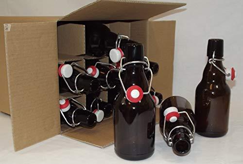 EIN Karton mit 12 Stück Bügelflasche 330 ml Steinie, braun, mit Bügelverschluss