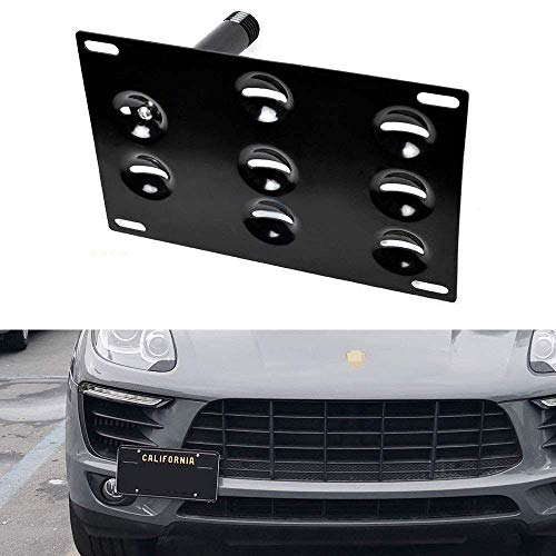 iJDMTOY No Drill Front Bumper Tow Hook License Plate Mounting Bracket Adapter Kit Compatible With 2014-up Porsche Macan, 2016-up Audi Q7