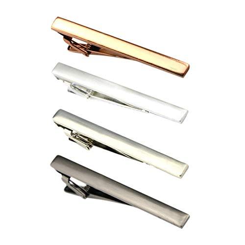 CUGBO ネクタイピン メンズ 4本セット シンプル タイピン タイタック タイクリップ ビジネス 日常仕事 結婚式 スーツ おしゃれ アクセサリー プレゼント ボックス付き 4色
