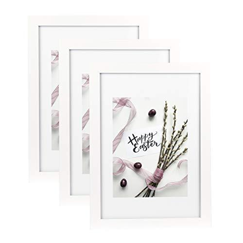 Home&Me 100% Echtholz Bilderrahmen Weiß A4 3er Set -mit Passepartout 15x20cm, Fotorahmen mit Echtglas für Zertifikat zum aufhängen und aufstellen