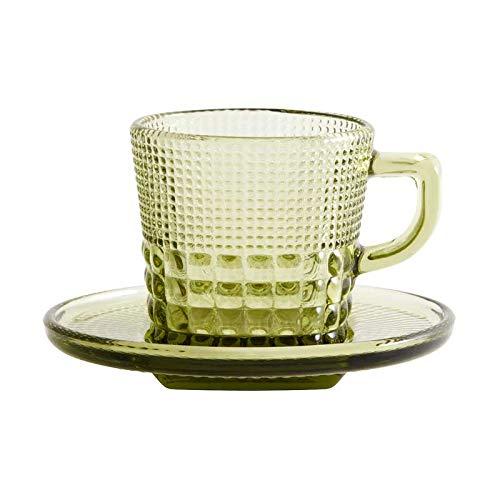 Henkeltasse aus Glas mit Unterteller, grün, 2-tlg.