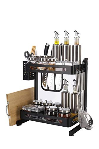 Atmama Spice Rack Organizer,2Tier Bathroom Countertop Organizer, Stainless Steel Kitchen Rack Organizer Counter Storage Shelf,Black