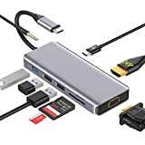 USB C Hub 9 in 1 Adapter DUAL-Anzeige mit HDMI 4K,VGA,USB 3.0,USB-C PD,Audio,SD/TF Kartenleser  OTG Docking Station Kompatibel with MacBook Pro/Air 2019,Th&erbolt 3 Typ C Geräte