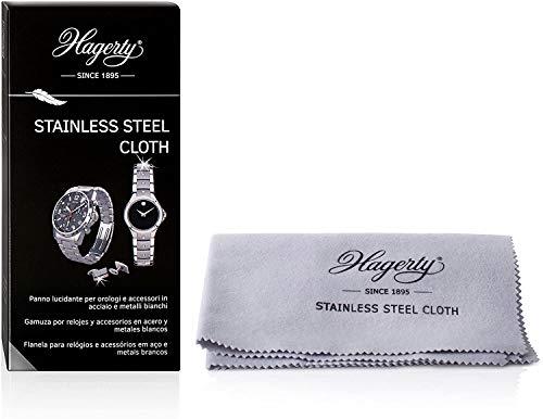 Hagerty Stainless Steel Cloth Panno per pulire acciaio inox 36x30cm I Panno impregnato lucida orologi in 100% cotone I Panno pulisci acciaio inox per orologi gioielli accessori in acciaio o metallo