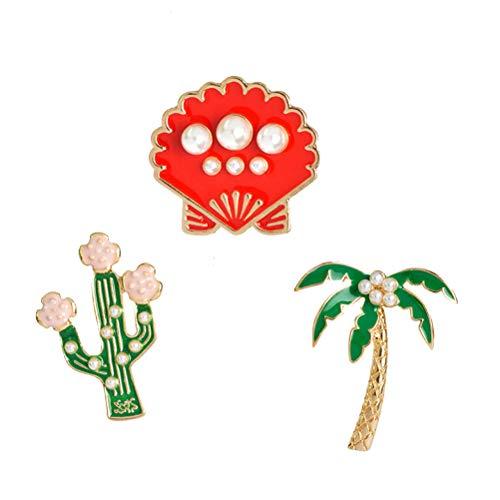 ABOOFAN 3pcs Pearl Coconut Tree Pineapple Shell Brooch Women Dress Clothes Decorative Brooch Collar Brooch Party Favor