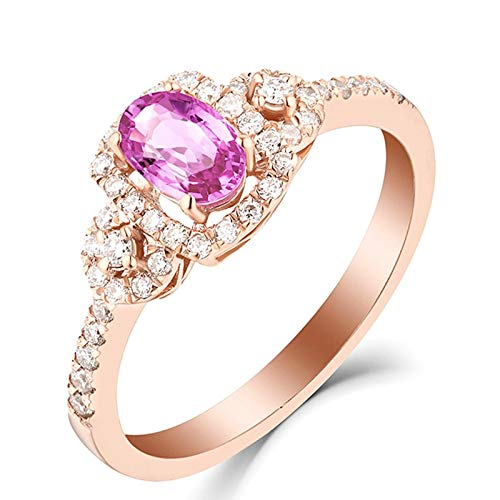 KnBoB Women Four Claws Oval Shape 0.67ct Pink Sapphire Ring 18K Rose Gold Promise Wedding Engagement Bridal Anniversary Ring Size M 1/2