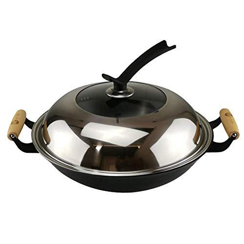 YWYW Casseruola con Coperchio - Fornello per arrostire Forno Olandese Antiaderente in Ceramica in ghisa e Gas, 34 cm