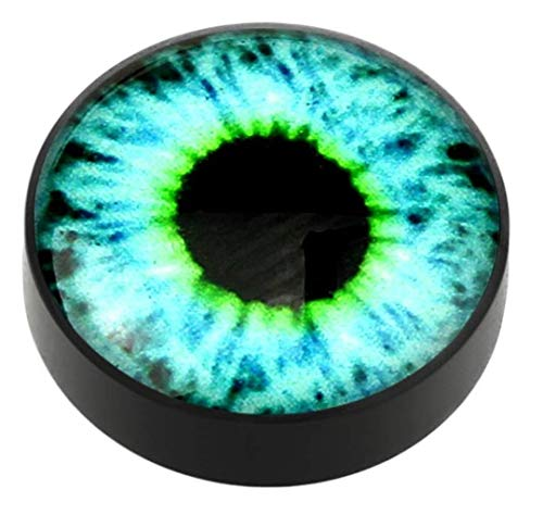 Body Accentz Plugs Earrings Rings Magnetic Eyeball Top Black Acrylic Glow in The Dark Fake Plug Pair