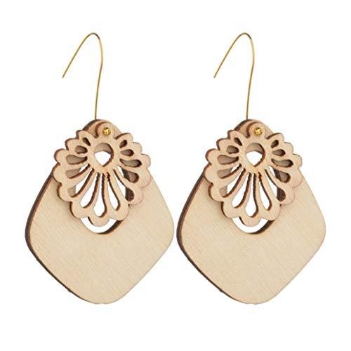 Boucles d'oreilles à la main de bricolage Nature bois métal crochet pour femmes africaines losange géométrique fleurs balancent boucles d'oreilles