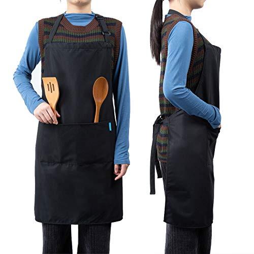esonmus Schürze Kochschürze,Wasserfeste Kochschürze mit 2 Taschen,Verstellbare Schürze aus Peach Skin Velvets,Schürze für die Küche Restaurant Café Grillen Backen(Schwarz)