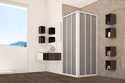 Box doccia PVC cabina angolare soffietto in acrilico riducibile su misura (80-60X80-60 CM)