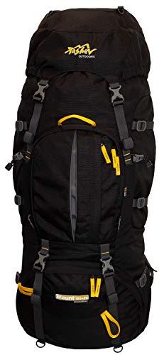 Trekking Rucksack 100L + 20L TASCHEV MOUNT 120 Liter - Rucksack mit wasserdichter Abdeckung (negro & amarillo)