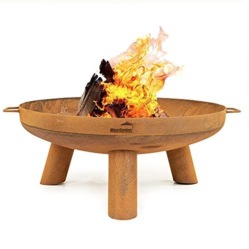 MaxxGarden - Brasero para el jardín (100 cm de diámetro) - Brasero XXL para exteriores - Brasero de jardín para carbón vegetal - Brasero con parrilla como chimenea de terraza de acero - Rejilla